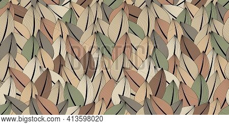 Abstract Seamless Pattern. Multicolored Leaves, Hedges. Trendy Colors For Interior Design, Printed P