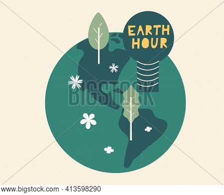 Earth Hour Day Concept Card Cartoon Illustration. Support Promise For Planet Actions, Change Global