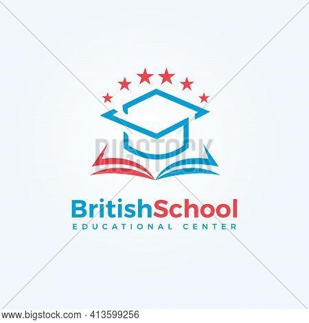 British School Logo. Open Book And Graduation Cap Icon. Knowledge And Education Symbol. University,