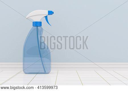 disinfectant spray into bathroom. 3d illustration