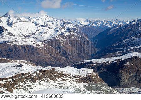 Zermatt, Switzerland - April 13, 2017: View Of Zermatt And The Swiss Alps From Moutain Klein Matterh