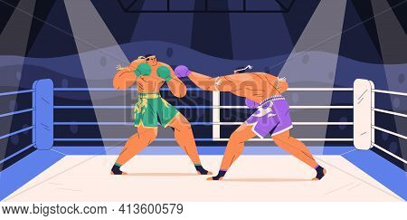 Strong Boxers Fighting On Ring At Muay Thai Boxing Competition. Fighter Punching His Opponent With A