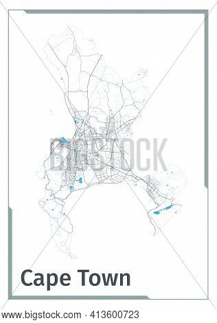 Cape Town Map Poster, Administrative Area Plan View. Black, White And Blue Detailed Design Map Of Ca