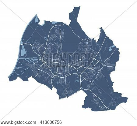 Karlsruhe Map. Detailed Vector Map Of Karlsruhe City Administrative Area. Cityscape Poster Metropoli