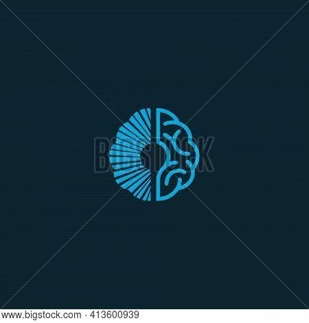Vector Illustrations. Logo Shaped Brain And Mushroom Spores, Stimulate Intelligence. Education And I