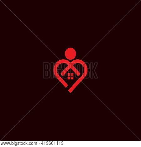 Vector Illustration. Heart Shaped Logo Of Abstract People Hugging The House. Home Furnishing, Real E