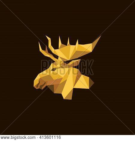 Vector Illustration. Reindeer Head Logo With A Modern Shape. Art And Animal