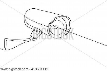 Cctv Privacy Control Digital Camera. One Line Monochrome Continuous Single Line Art. Business Securi