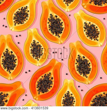 Seamless Vector Pattern With High Detailed Papaya