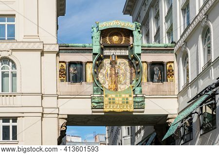 The Anchor Clock Ankeruhr In Vienna Downtown District. Famous Landmark And Touristic Destination In