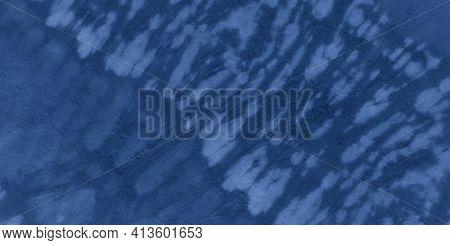 Indigo Shibori Fabric. Ocean Ethnic Textile Background. Clouds Artistic Paint Surface. Marine Ethnic