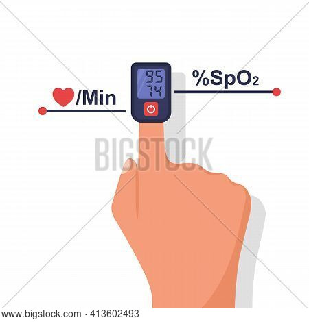 Testing Covid 2019. Low Oxygen In The Blood As A Symptom Of The Disease. Oximeter On Finger. Measure
