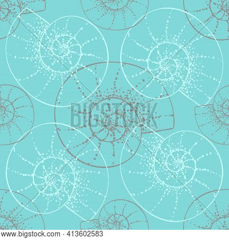Vintage Seashell Seamless Pattern On Mint Color Background. Spiral Nautilus Shells, Hand Drawing Out