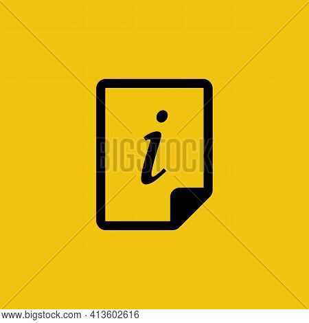 Document Information Glyph Icon. Reference Black Silhouette. Black Sing Information Paper File. Symb