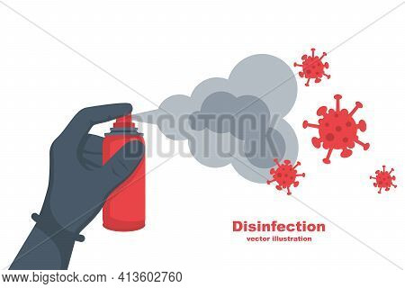 Cleaning And Disinfecting Coronavirus. Atomizer And Sprayer. Man In Hazmat Suit And Gloves. Pandemic