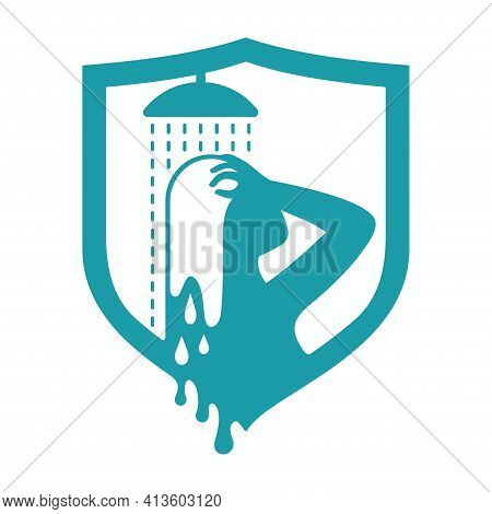 Hair Dye Properties - Color Washout Protection. Woman In Shower Washing Her Head. Vector Illustratio