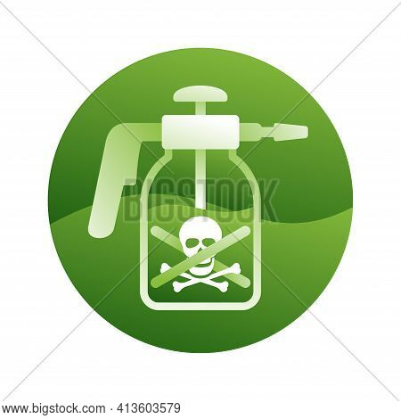 No Pesticides Prohibit 3d Pictogram - Crossed Out Garden Manual Sprayer. Icon For Products Compositi