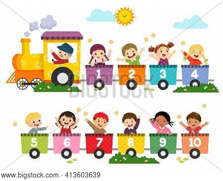 Vector Illustration Cartoon Of Happy Preschool Kids With The Train Numbers. Card For Learning Number