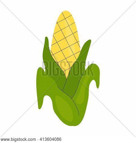 Simple Single Cute Corncob. Healthy Food, Vitamins, Vegetables. Illustration In Flat Style