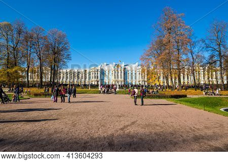 Saint-petersburg, Russia - 15 October, 2018: The Catherine Palace Is A Rococo Palace Located In The