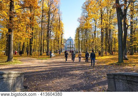 Saint-petersburg, Russia - 15 October, 2018: Hermitage Pavilion In Catherine's Park In Tsarskoye Sel