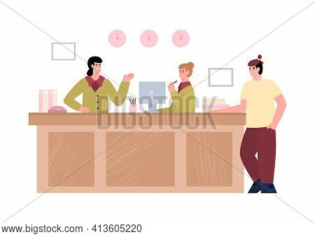 Reception Desk Business Office, Clinic Or Hotel With Visitor And Receptionists