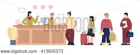 Reception Desk In Hotel Lobby With Receptionists And Queue People With Luggage