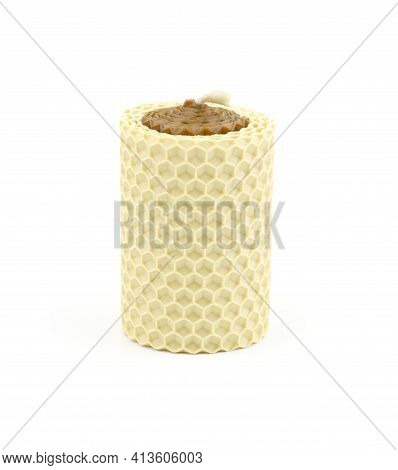 Two-tone Scented Wax Candle Isolated On White Background. Honey-scented Candles