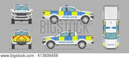Vector Uk Pickup Truck. English Police Car. Side View, Front View, Back View, Top View. Cartoon Car