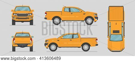 Vector Pickup Truck. Yellow Car From Different Sides. Side View, Front View, Back View, Top View. Ca