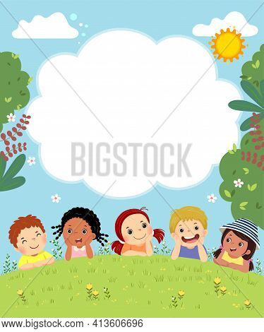 Template For Advertising Brochure With Cartoon Of Happy Kids Laying On The Grass.