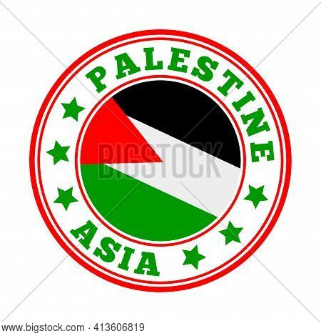 Palestine Sign. Round Country Logo With Flag Of Palestine. Vector Illustration.
