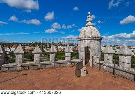 Battlement of Belem Tower - Lisbon Portugal - architecture background