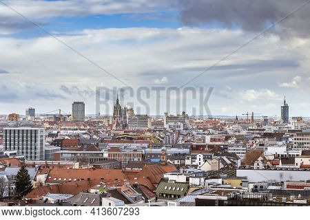 Aerial View Of Munich From New Town Hall Tower, Germany