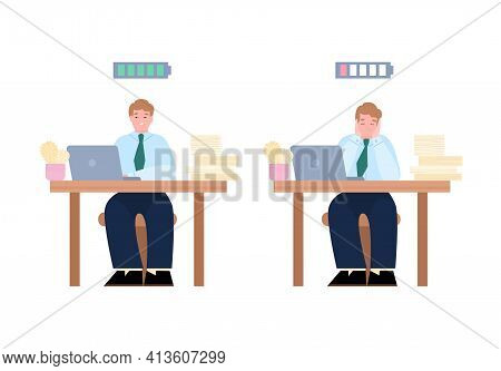 Bored And Enthusiastic Business People Cartoon Vector Illustration Isolated.