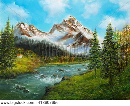 Original  Oil Painting Of Beautifl Spring Landscape, Forest,snow Mountains  And River  On Canvas.mod