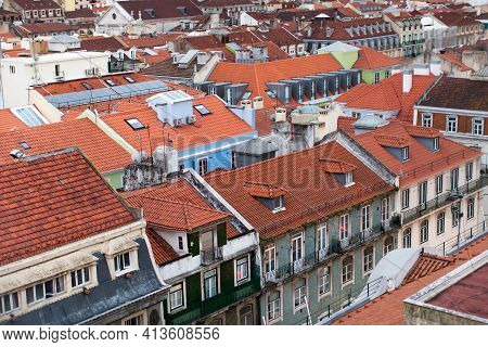 Lisbon Cityscape Panorama Alfama Portugal, Beautiful European City In The Summer, Colored Houses Roo
