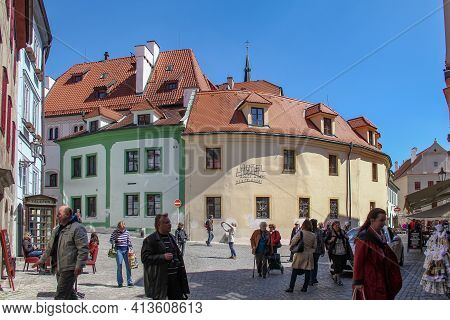 Cesky Krumlov, Czech - April 25, 2012: This Is One Of The Crossroads Of The Old Medieval Street, Fil