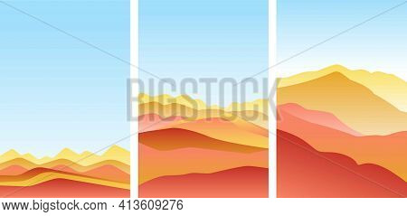 Set Of Landscape With Waves. Blue Sun Set Sky. Yellow, Orange, Pink And Red Mountains Silhouette. Sa