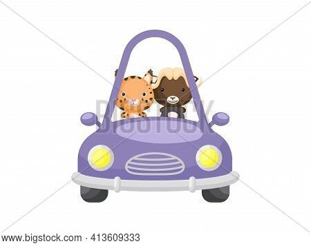 Cute Little Lynx And Musk-ox Driving Purple Car. Cartoon Character For Childrens Book, Album, Baby S