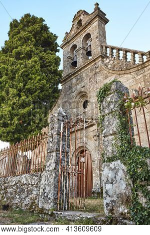 Santa Isabel Church In Ribeira Sacra. Castro Caldelas Village. Spain