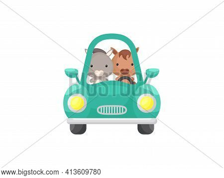 Cute Little Donkey And Horse Driving Emerald Car. Cartoon Character For Childrens Book, Album, Baby
