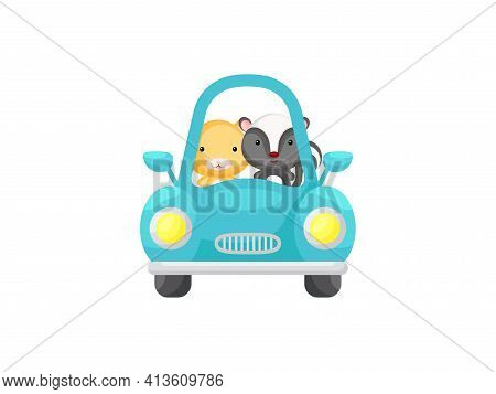 Cute Little Hamster And Skunk Driving Turquoise Car. Cartoon Character For Childrens Book, Album, Ba