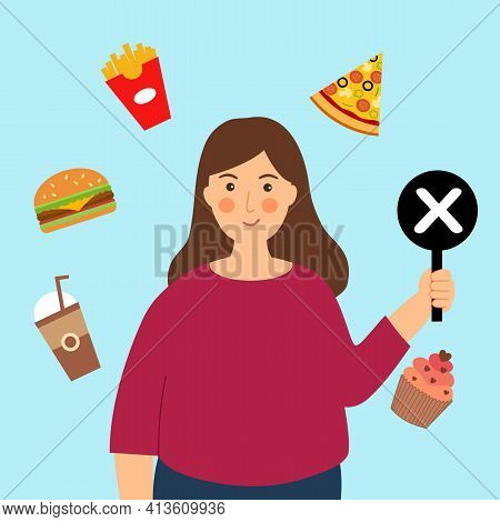 Stop Unhealthy Eating Habits Concept Vector Illustration. Fat Woman Holding Prohibited Sign For Fast