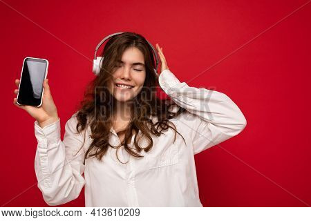 Attractive Positive Smiling Young Woman Wearing Stylish Casual Outfit Isolated On Colourful Backgrou
