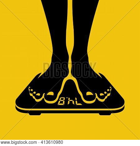 A Man Standing On The Weight Scale. Man Legs On Scales. Human Is Weighed. The Body On Scales. Vector