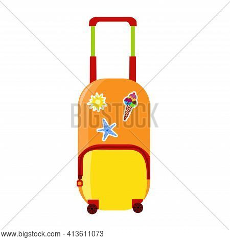 Orange Vector Traveling Baggage Suitcase. Summer Element Isolated On White Background. Summer Travel