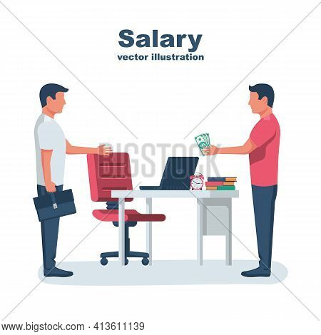 Salary Payment. The Head Pays The Employee Wages. Payroll Concept. Vector Illustration Flat Design.