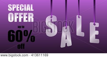 Sale Special Offer. Translucent Glass Or Plastic Letters On Purple Silk Ribbons With Purple Backgrou