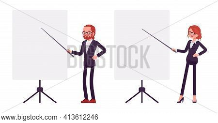 Businessman, Businesswoman Red Haired Office Worker Standing At Whiteboard. Manager, Administrative,